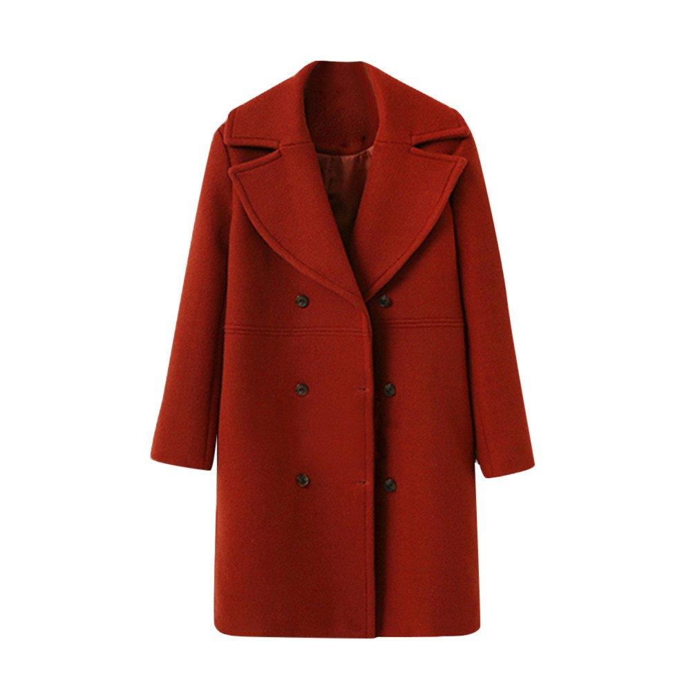 Hiver éPais Chaud Manteu Trench Coat Long Femme Vestes en Laine à La Mode Couleur Unie Buton A Manche Longues Coats