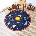 "Kids Round Rug Solar System Learning Area Rug Children's Fun Area Rug - Non Slip Bottom (39"" Diameter Round)"