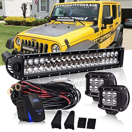 DOT 22 Inch 120W Led Light Bar On Windshield Bumper + 4 Inch 18W Cube Pods Driving Lights W/Rocker Switch Wiring Harness For F150 SUV ATV Truck Jeep Polaris Ranger RZR Dodge Golf Cart Truck Dodge Ram