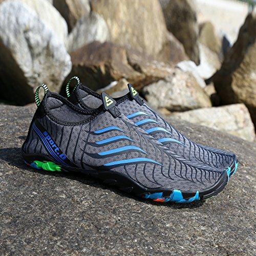 Barefoot Chaussures Aquatiques Unisexes Kuuland Plage Schage Surf Pour Rapide Volleyball Yoga Chaussettes La Aqua Chaussons Gris Piscine Plonge Bain De ww7rqE