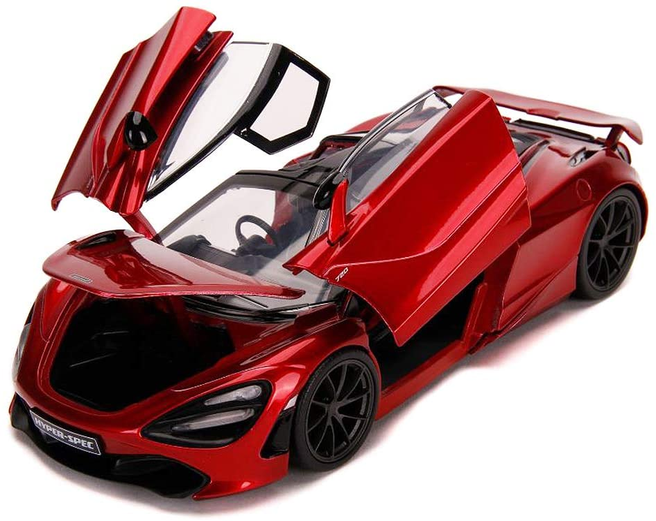 McLaren 720S Candy Red with Black Top Hyper-Spec 1//24 Diecast Model Car by Jada 32275