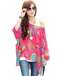 6ca490d63d66aa OKSakady Frauen Lose T-Shirt Chiffon Batwing Ärmel Bluse Plus Size Tunika