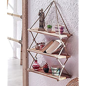 Decorative Wooden Hanging Shelf with Rope, Bookcase, Bookshelf Decor Resin Ornament
