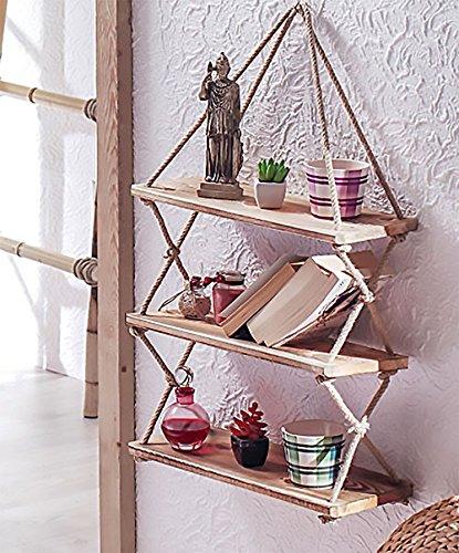 Decorative Wooden Hanging Shelf With Rope Bookcase Bookshelf Decor Resin Ornament