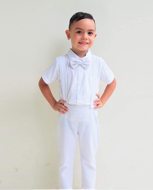 Traje de Lino de 3 Piezas para niño, Color Blanco, Traje Portador de Anillos, Traje de Page Boy - Blanco - 3 años: Amazon.es: Ropa y accesorios