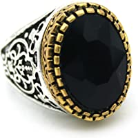 Indi Creation Black Oval Crystal Statement Ring for Men Boys
