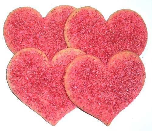 Scott's Cakes Heart Shaped Butter Sugar Cookies with Pink & Red Colored Sugar Cookies in a 1 Pound White Box