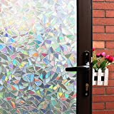 3D Decorative Window Film,Clear Glass Film,Rainbow Effect Door Window Decoration,Static Cling/Vinyl/Heat Control/Anti UV For Kitchen,Dining Room,Bedroom,Living room,17.5In. By 78.7In.