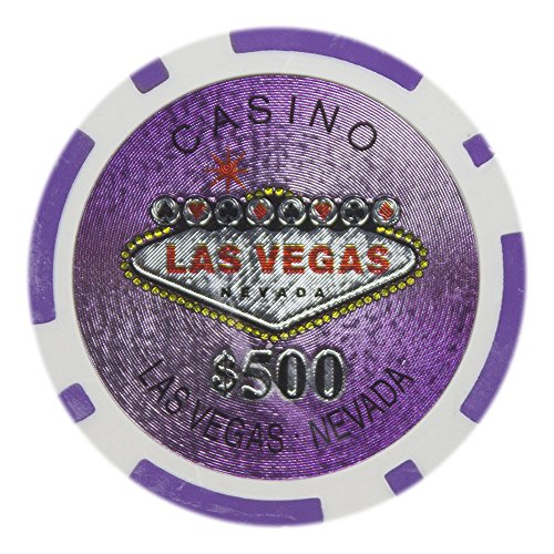 - Brybelly Las Vegas Casino Poker Chip Heavyweight 14-gram Clay Composite – Pack of 50 ($500 Purple)