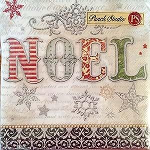 40 Ct Punch Studio 99530 NOEL Vintage Script Christmas Tree Luncheon / Dinner Napkins, Victorian Holiday