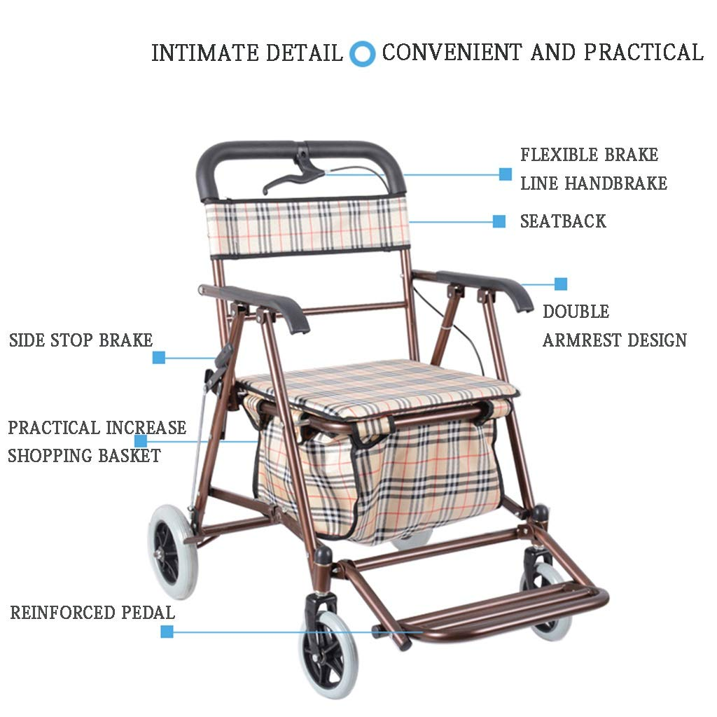 Milisome World Folding Shopping Cart for The Elderly, Four-Wheeled Walker Can Push or Sit, Old Man Trolley (Color : Wine red) by Milisome World (Image #3)