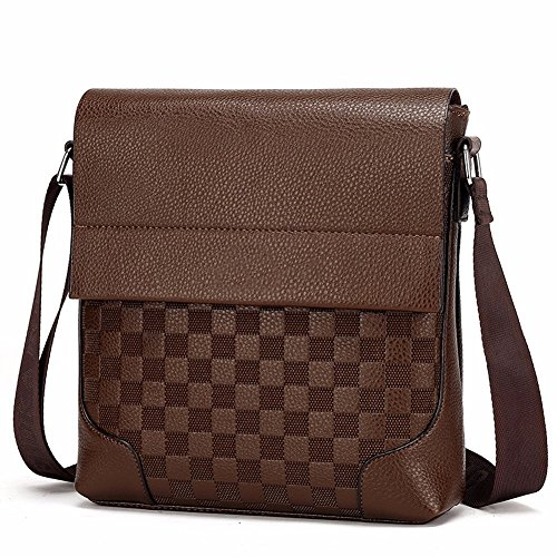 Surnoy Men 's Satchel, vertical de 8 pulgadas solo bolso de hombro, Business Document Trend Pack,Dark Brown Light Brown