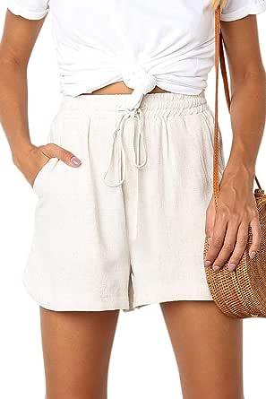 SELINK Women's Drawstring Elastic Waist Causal Cotton Linen Beach Shorts with Pockets