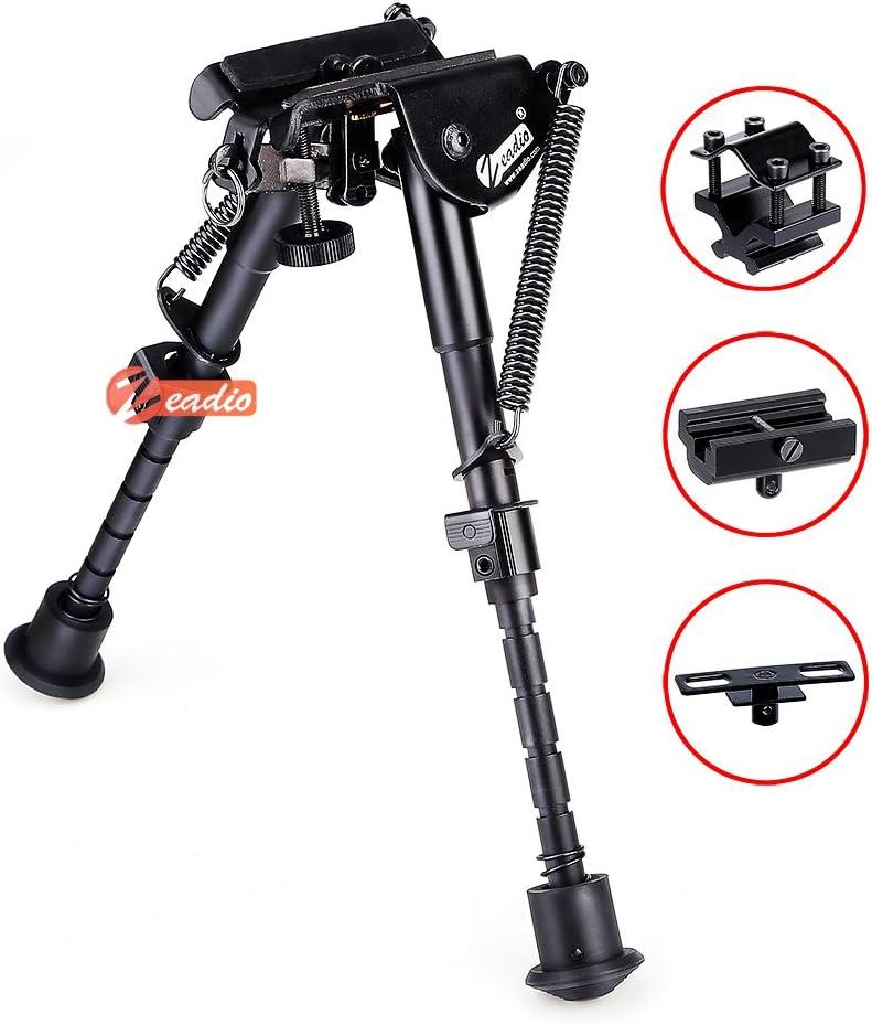 Zeadio Bípode Ajustable Extensible con 3 adaptadores (15 a 23 cm / 6 a 9 Pulgadas)
