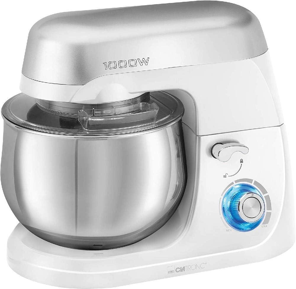 Clatronic KM 3709 Batidora amasadora repostería Capacidad de 5 litros, Velocidad Regulable electrónica, 1000 W, Blanco: Amazon.es: Hogar