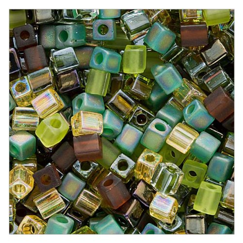 Beadaholique Miyuki 10gm Glass Cube Bead Mix, 4mm, Earthtones' (Mix Glass Bead)