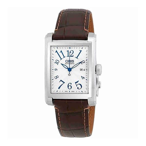 Oris - Reloj rectangular automático para hombre, esfera de plata, 01 561 7657 4061LS