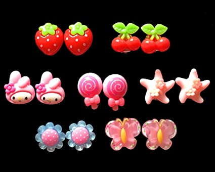 Amazon 7pc young girls play earrings clip on jewelry dress up 7pc young girls play earrings clip on jewelry dress up fun negle Choice Image
