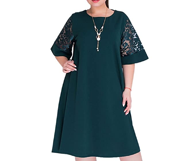Padory Loose Lace Women Summer Dresses, Plus Size Women Knee-Length Dress (Green