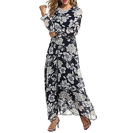 168aa0d24 Vestido de Mujer Sexy Moda Señoras Floral Impresión Gasa Manga Larga Boho  Maxi Paseo Casual Elegante