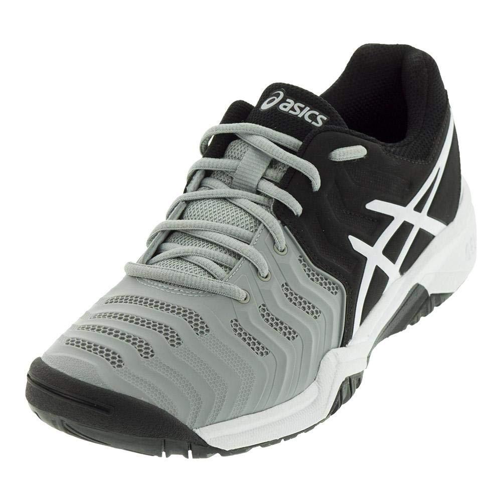 Mid Grey Black White 4 M US Big Kid ASICS Kids' GelResolution 7 GS Tennis shoes Grey