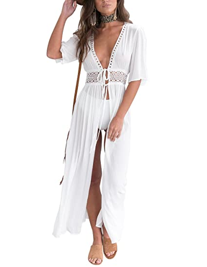 3819537689ad9 Sanifer Women's Sexy V Neck Lace Maxi Beach Dress Swimsuit Cover Up Bikini  Cover Up (