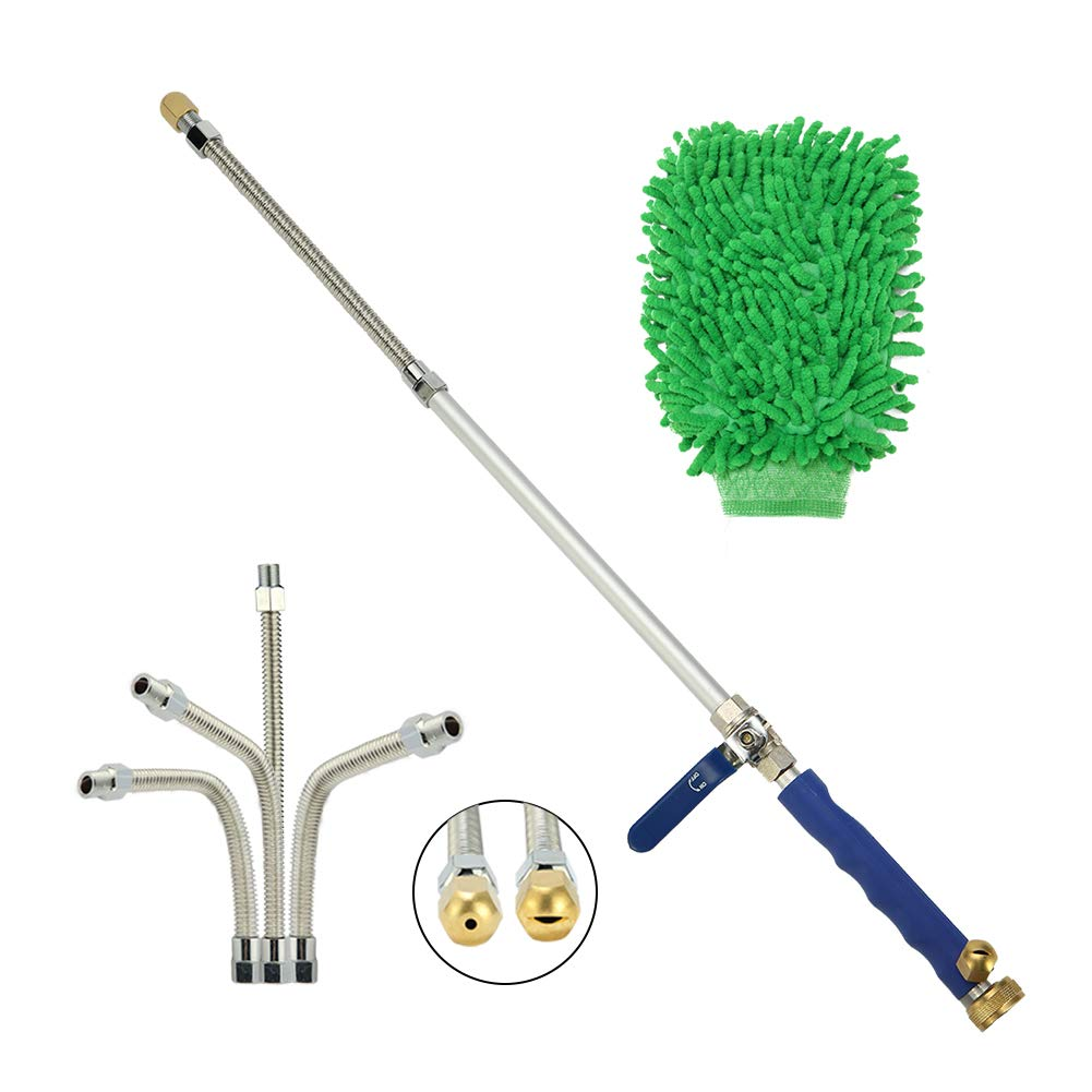 Sensphi Hydro Jet Pressure Power Washer Wand - High Pressure Water Hose Attachment Nozzle, Flexible Glass Cleaner, Extendable Garden Watering Sprayer for Hurricane Storm, 27Inch, 2 Tips.