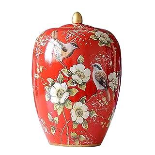 Cunmaa-g Patrón de Esmalte Rojo Moderno de cerámica con Tapa Tanque de Almacenamiento Tarro de melón de Invierno Sellado de Frasco de Porcelana Decoración