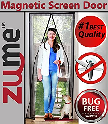 "Magnetic Screen Door-Highest Quality Easy to Install Door Screens with Magnets-size 40"" X 83""Pet Friendly-12 Point Inspected Premium Mesh Curtain-keep Mosquitoes Out While Letting the Cool Breeze In! from Zume Products"