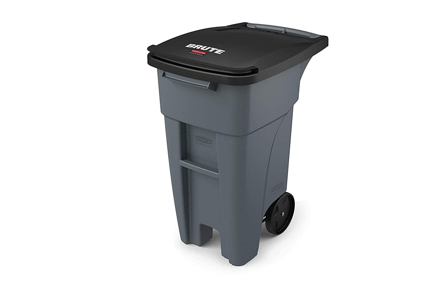 Rubbermaid Commercial Products 1971941 Brute Rollout Heavy-Duty Wheeled Trash/Garbage Can, 32-Gallon, Gray