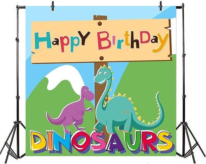 DORCEV 8x6ft Cartoon Dinosaur Theme Photography Backdrop Wild Jungle Sunshine Lovely Baby Dinosaur Background Birthday Celebration Baby Shower Party Cake Table Banner Photo Studio Props
