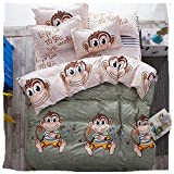 4pcs Magic Novelty Animal Print Bedding Sheet Set One Duvet Cover Without Comforter One Flat Sheet Two Pillowcases Twin Full Queen Size (Full, Naught Monkey)