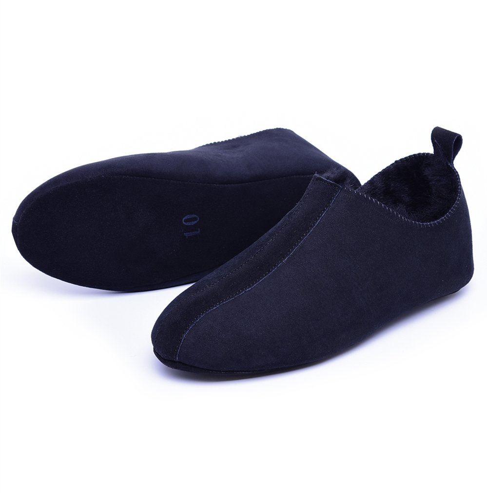 men house leather slipper loafers shoes shearling lined sheepskin