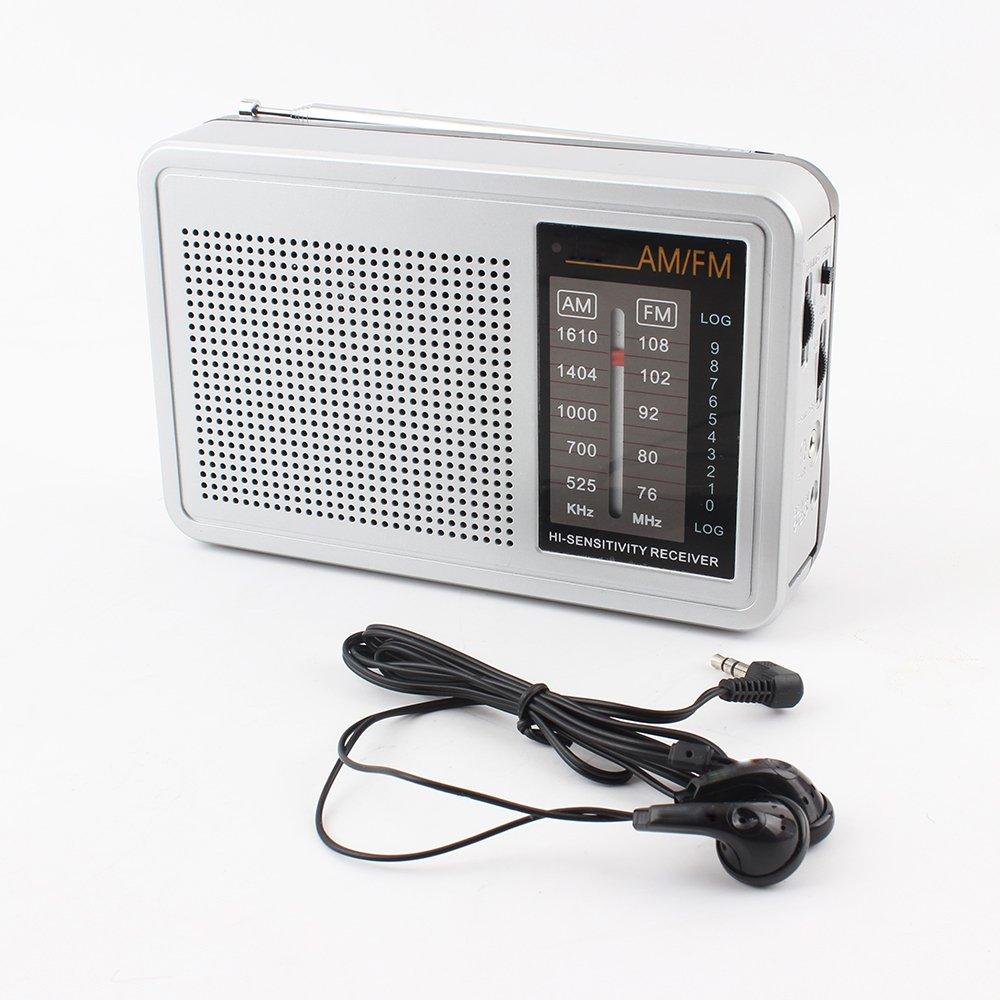 UMCORP UM-2008 AM/FM Radio with earphone, Old School Weather Radio, Kitchen Radio, Home & Outdoor Camping Radio. Travel Radio