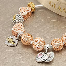 Glamulet 925 Sterling Silver Charm Bead Fit Pandora Bracelet Pandora Charms Clear Crystal Rose Gold Plated Love Knitting Heart, Ideal for Lover Women Mom Wife Girls