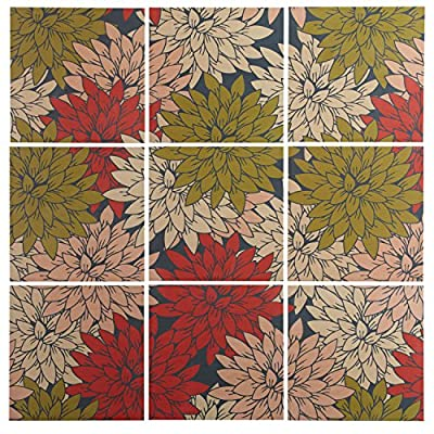 9-Piece Floral Red and Green Art Print Mural on Wood -  - wall-art, living-room-decor, living-room - 61zASagmGAL. SS400  -