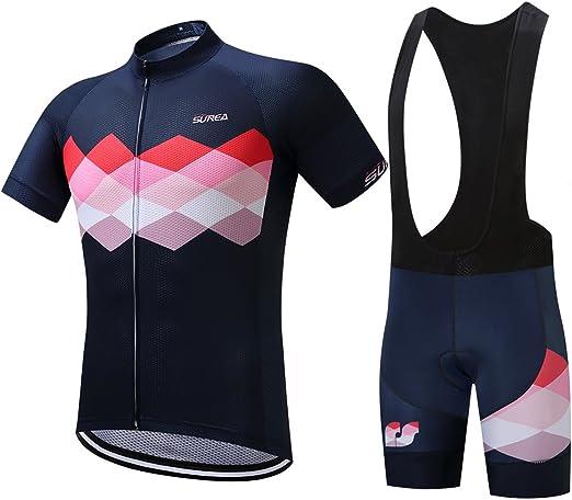 Men/'s Cycling Jersey Set Short Sleeve Bicycle Shirt and Bib Shorts Sport Kits