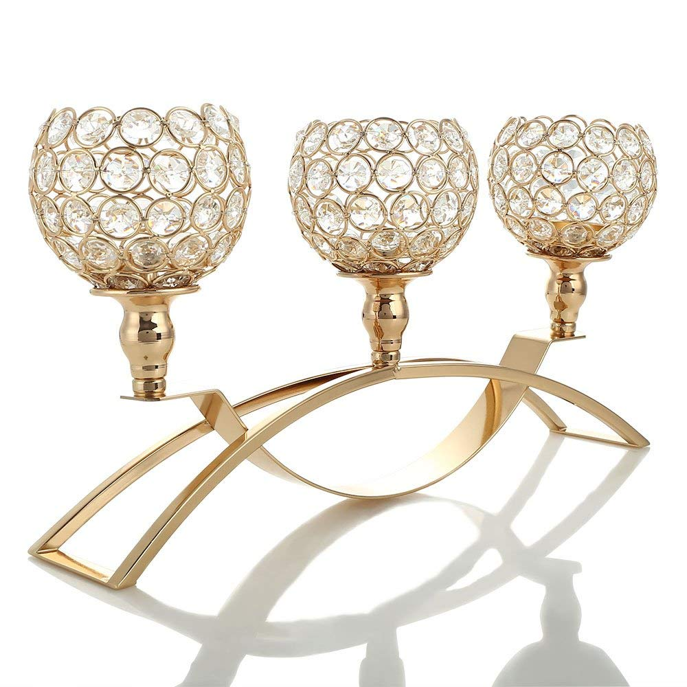 VINCIGANT Gold Crystal Candle Holders