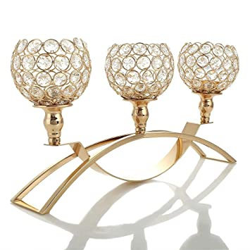Marvelous Vincigant Gold Crystal Candle Holders 3 Candle Candelabras Coffee Table Decorative Centerpieces For Living Room Dinning Room Table Download Free Architecture Designs Grimeyleaguecom