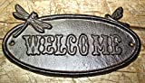 Cast Iron Antique Style Dragonfly WELCOME Plaque Garden Sign Wall Decor Man Cave by OutletBestSelling