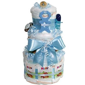 Windeltorte Beissmännchen Boy Geschenk Zur Taufe Oder Geburt Für Jungen Blau Geschenkfertig In Folie Verpackt Auf Wunsch Mit Kostenlosen