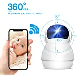 WiFi Home Security Surveillance Cameras, Wireless 1080P HD IP Camera for Baby/Elder/ Pet/Nanny Monitor, Panoramic View, Pan/Tilt/Zoom,Two-Way Audio, Night Vision,Motion Detection with Micro SD Card