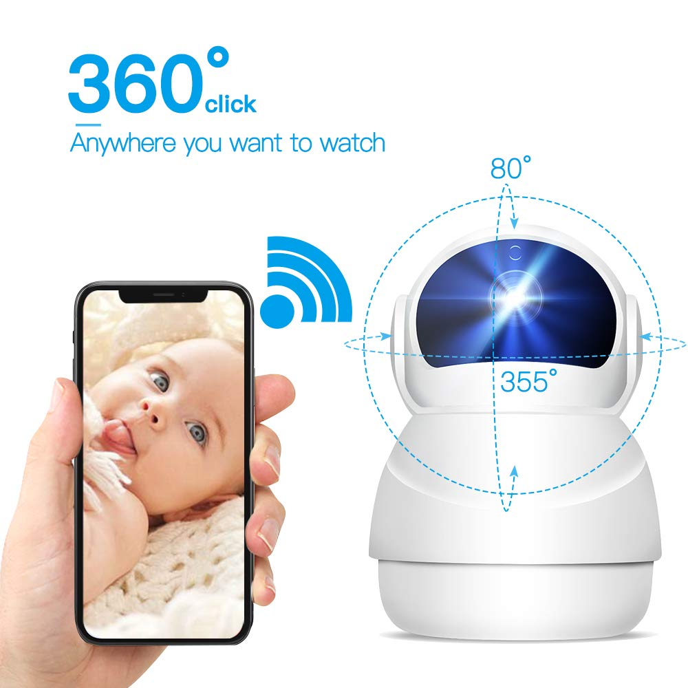 Home Security Cameras, 1080P HD IP Camara, IP Webcam, WiFi Camera with Motion Detection, Clear Night Vision, Pan/Tilt/Zoom, 2 Way Audio for Home Security, Baby Monitor, Nanny Cam (White)