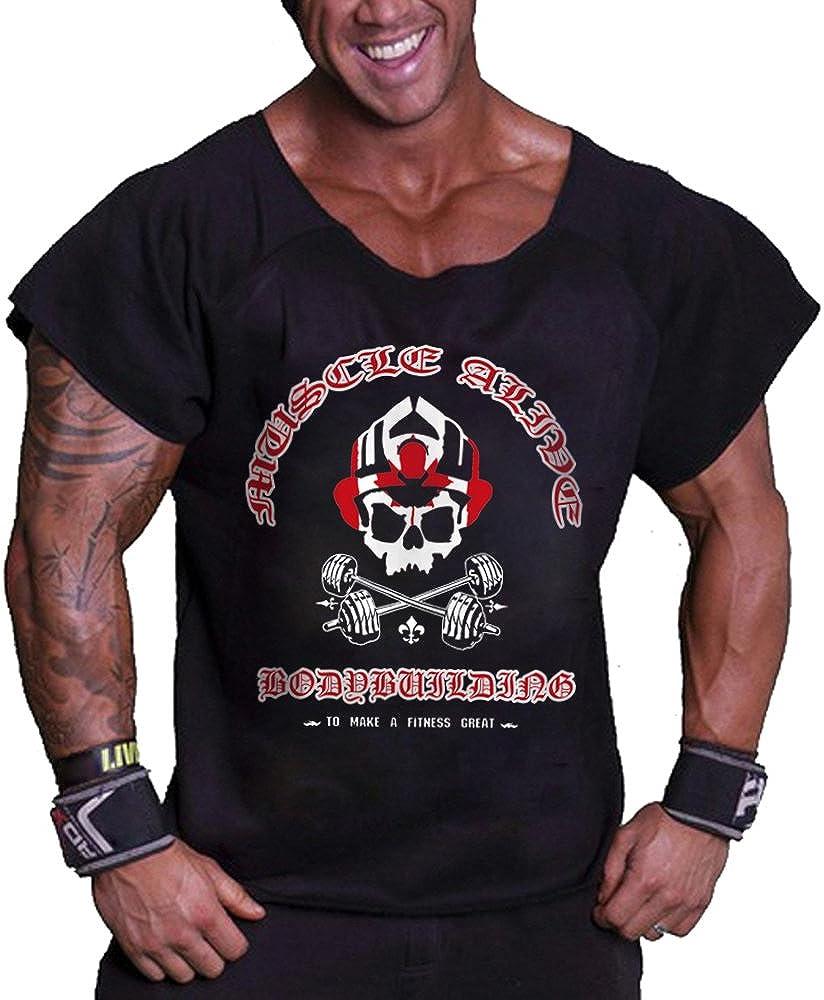 Musclealive Uomo Bodybuilding Rag Top allenamento spugna di cotone