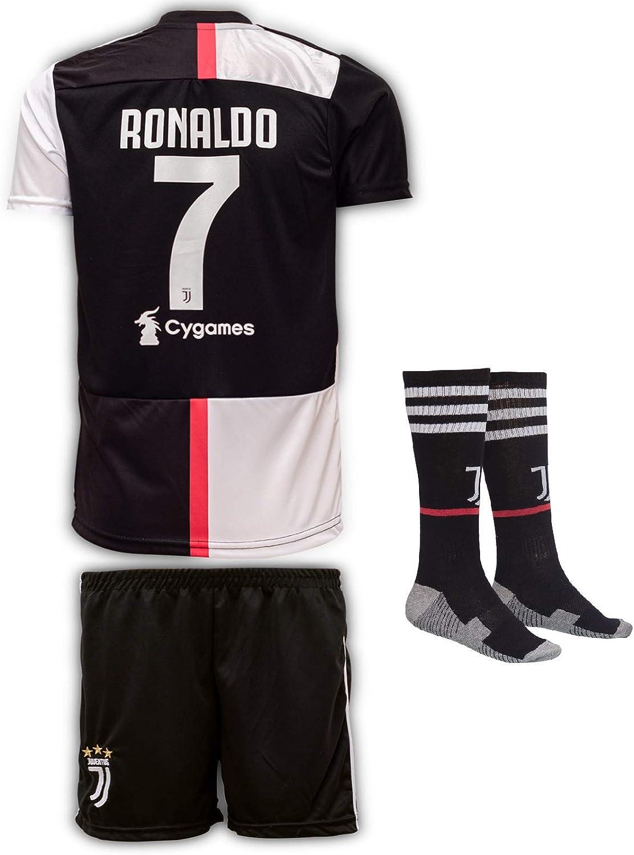 Jtex Juve 2019-20 Ronaldo, Casa/Lejos, Camiseta de Manga para niños con Pantalones Cortos y Calcetines (Tallas 2-14 años)