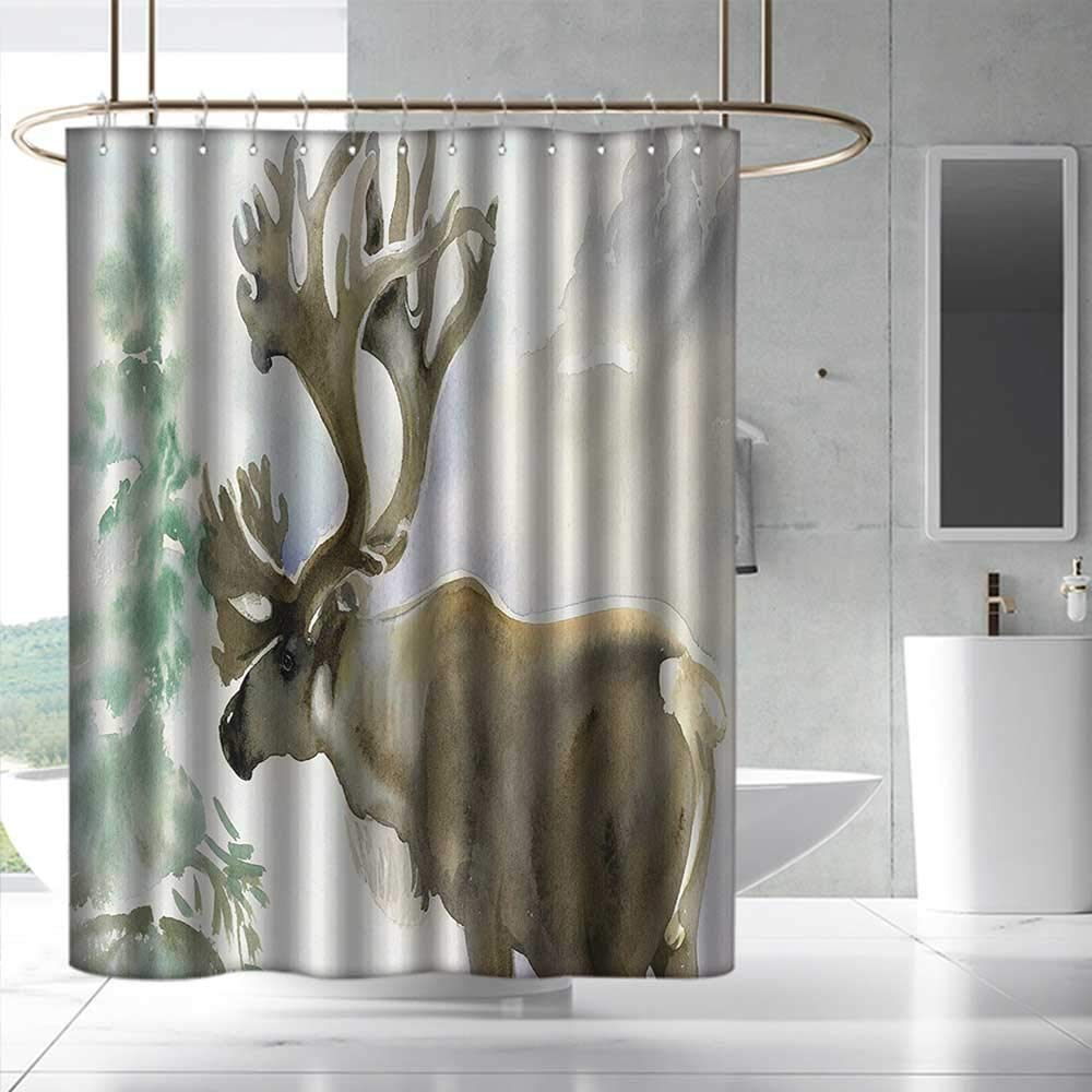 Antlers Shower Curtain with Hooks Moose in Winter Forest Wildlife Reindeer Christmas Theme Watercolor Painting Style for Master, Kid's, Guest Bathroom W108 x L72 Beige Green by Fakgod (Image #1)