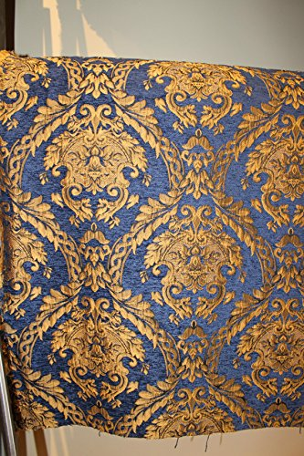 DAMASK TAPESTRY CHENILLE FABRIC - UPHOLSTERY FABRIC, BLUE/ GOLD - 60