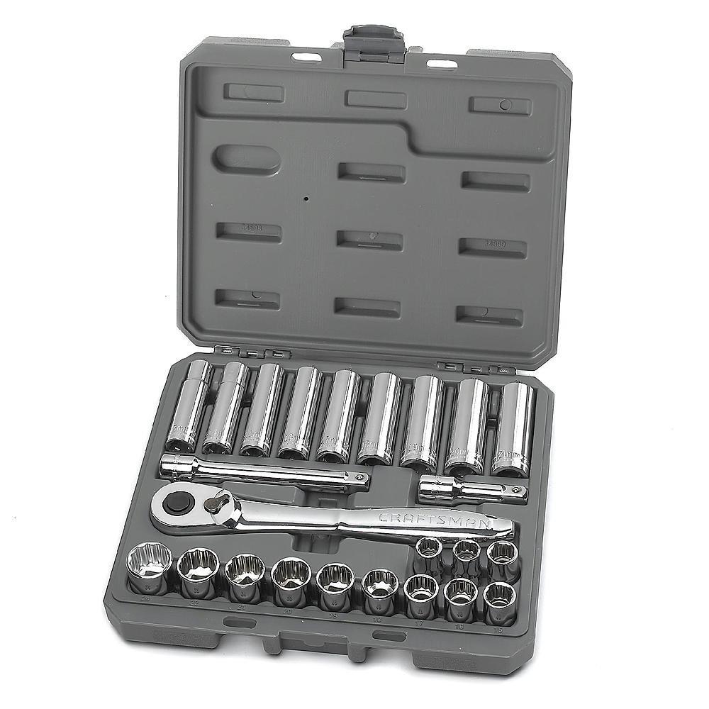 Craftsman 24 pc. Metric 1/2 in. Drive Socket Wrench Set [並行輸入品] B06XW3N334