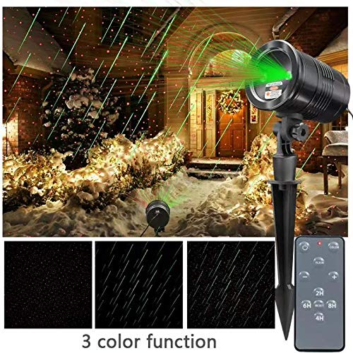 Star Laser Projector Green (KSWIN Christmas Laser Projector Star Shower Projector Waterproof Green and Red Moving Meteor Shower Laser Light with Wireless Remote for)
