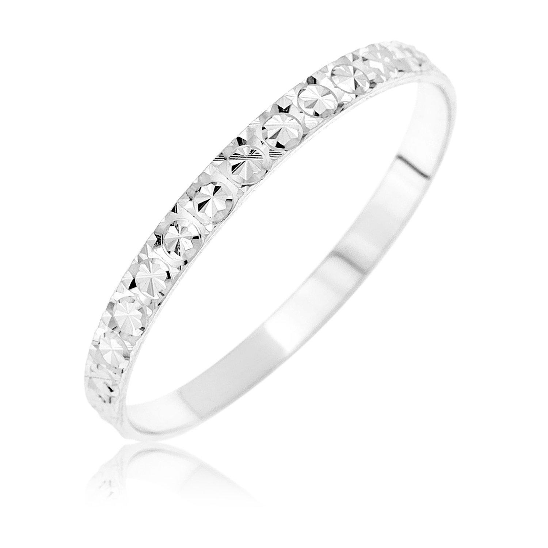 Kareco 9ct White Gold 2mm Light Flat Diamond Cut Wedding Ring M